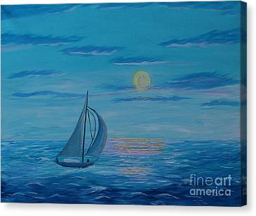 Bright Moonlit Night Canvas Print by Barbara Griffin