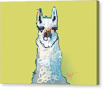 Llama Canvas Print - Bright Mustard Llama by Niya Christine