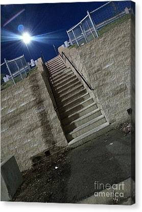 Silver Moonlight Canvas Print - Bright Night Stairs.. by SimbiAni