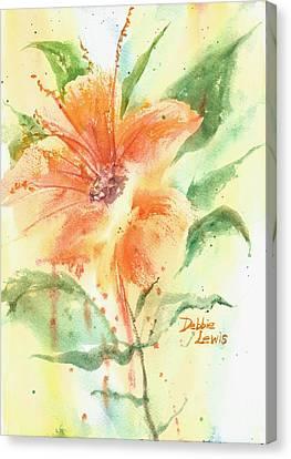 Bright Orange Flower Canvas Print by Debbie Lewis