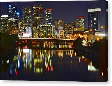 Bright Philly Night Canvas Print by Frozen in Time Fine Art Photography