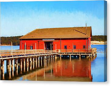 Bright Red Coupeville Wharf On Whidbey Island Canvas Print by Carol Leigh