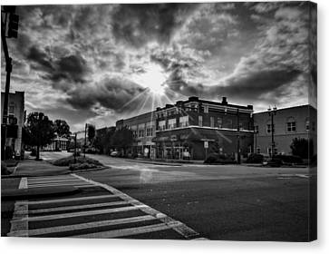 Bright Sun In Murphy North Carolina In Black And White Canvas Print
