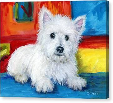 Bright Westie Canvas Print by Dottie Dracos