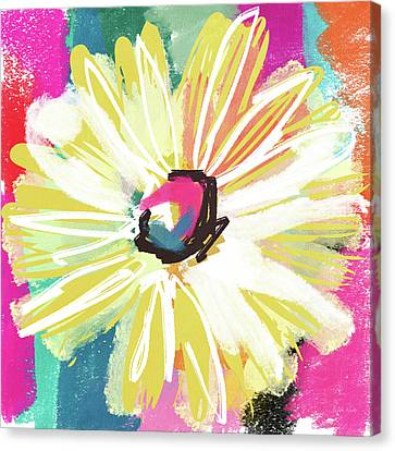 Expressionist Canvas Print - Bright Yellow Flower- Art By Linda Woods by Linda Woods