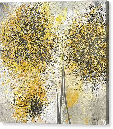 Brighter Blooms - Yellow And Gray Modern Artwork Canvas Print by Lourry Legarde