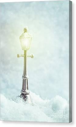 Snowy Night Canvas Print - Brightly Lit Lamp by Amanda Elwell