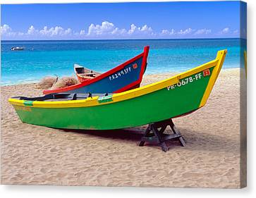 Brightly Painted Fishing Boats On A Caribbean Beach Canvas Print by George Oze