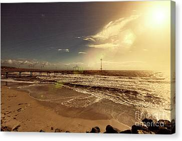 Canvas Print featuring the photograph Brighton Beach Pier by Douglas Barnard
