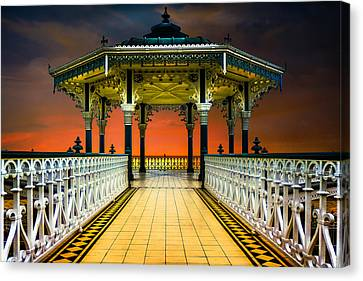 Canvas Print featuring the photograph Brighton's Promenade Bandstand by Chris Lord