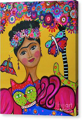 Brigit's Frida And Cat Canvas Print by Pristine Cartera Turkus