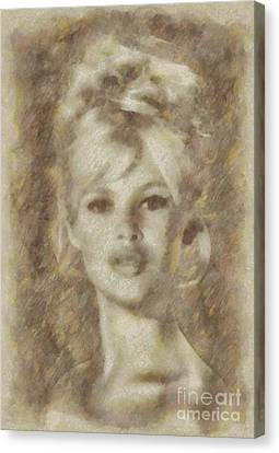 Brigitte Bardot Hollywood Actress Canvas Print by Sarah Kirk