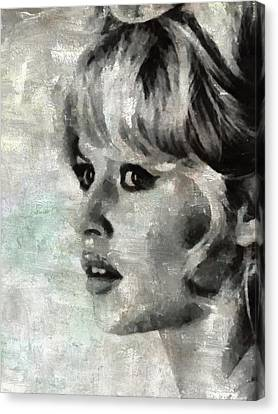 Brigitte Bardot Hollywood Icon By Mary Bassett Canvas Print by Mary Bassett