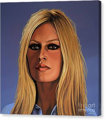 Blond Canvas Print - Brigitte Bardot Painting 3 by Paul Meijering