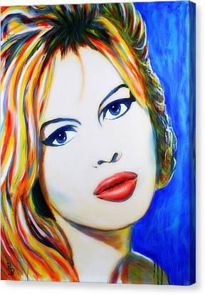 Canvas Print featuring the painting Brigitte Bardot Pop Art Portrait by Bob Baker