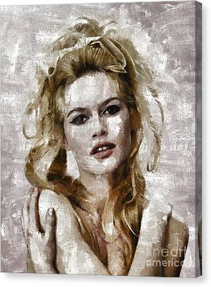 Brigitte Bardot, Vintage Actress Canvas Print by Mary Bassett