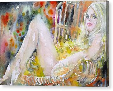 Brigitte Bardot - Watercolor Portrait Canvas Print by Fabrizio Cassetta