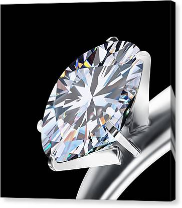 Solid Canvas Print - Brilliant Cut Diamond by Setsiri Silapasuwanchai