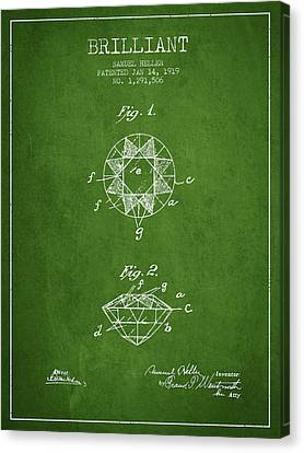 Brilliant Patent From 1919 - Green Canvas Print by Aged Pixel
