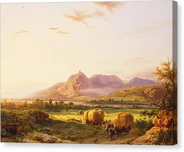 Bringing In The Harvest Canvas Print by Pieter Lodewijk Francisco Kluyver