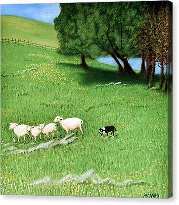 Canvas Print featuring the pastel Bringing Them In  by Jan Amiss