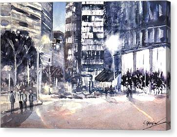 Brisbane Cityscape #2 Study Canvas Print by Sof Georgiou