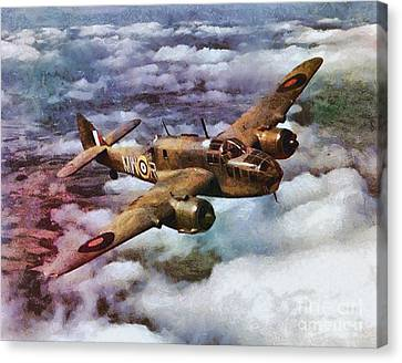 Bristol Beaufort Bomber, Wwii Canvas Print by Mary Bassett