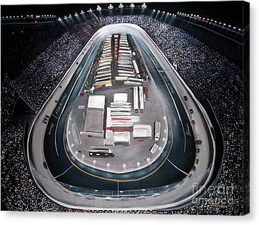 Canvas Print featuring the painting Bristol Motor Speedway Racing The Way It Ought To Be by Patricia L Davidson