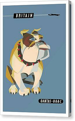Britain Bulldog Vintage Airline Travel Poster By Harry Rogers Canvas Print by Retro Graphics