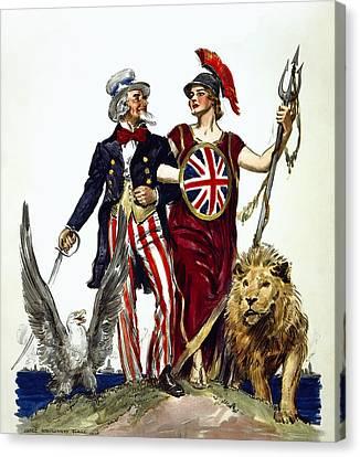 Britannia And Uncle Sam - Friends And Allies  1918 Canvas Print by Daniel Hagerman