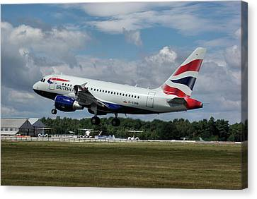 British Airways Airbus A318-112 G-eunb Canvas Print by Tim Beach