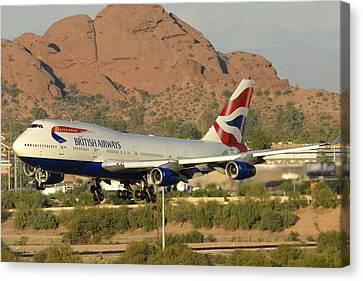 British Airways Boeing 747-436 G-civa Phoenix Sky Harbor October 26 2010 Canvas Print by Brian Lockett