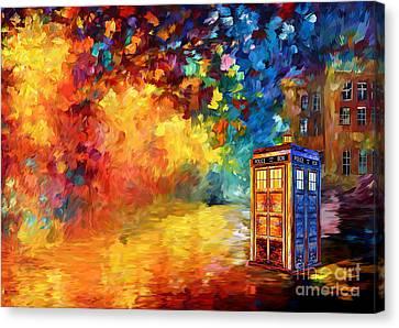 British Blue Phone Box Canvas Print by Three Second