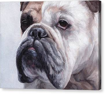 Close Up Canvas Print - British Bulldog Painting by Rachel Stribbling