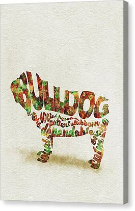 British Bulldog Watercolor Painting / Typographic Art Canvas Print