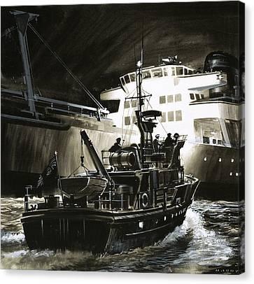 Coastguard Canvas Print - British Coastguard Patrol  by Wilf Hardy