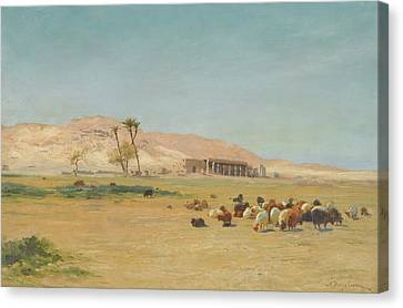 British Egyptian Landscape Canvas Print by Joseph Farquharson