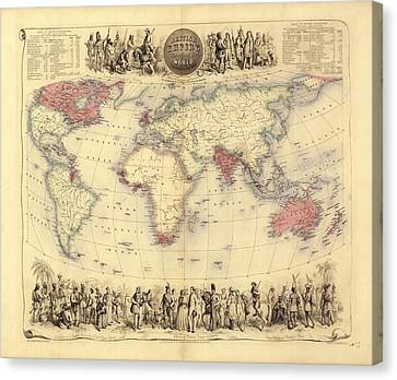 British Empire World Map, 19th Century Canvas Print by Library Of Congress