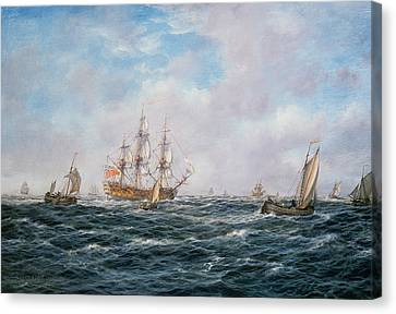 British Man-o-war And Other Craft Canvas Print by Richard Willis