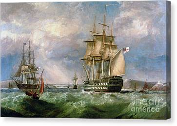 Warship Canvas Print - British Men-o'-war Sailing Into Cork Harbour  by George Mounsey Wheatley Atkinson