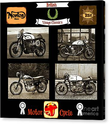 British Hot Rod Canvas Print - British Motorcycle - Vintage by Ian Gledhill
