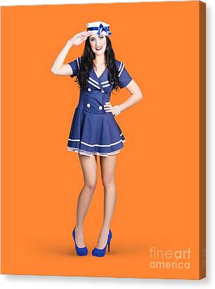 British Navy Blue Pin Up Girl Saluting Canvas Print by Jorgo Photography - Wall Art Gallery