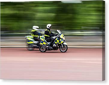 British Police Motorcycle Canvas Print