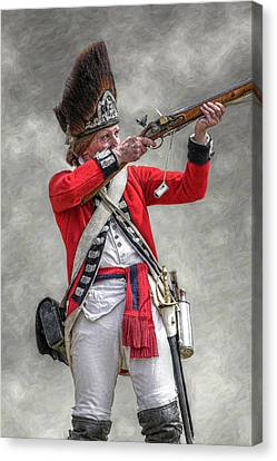 British Redcoat Firing Musket Portrait  Canvas Print by Randy Steele
