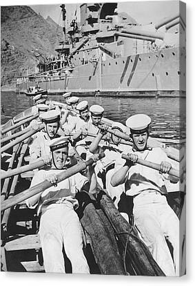 British Sailors Rowing Canvas Print by Underwood Archives