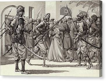 Colonial Man Canvas Print - British Soldiers Are Forced Into The Black Hole Of Calcutta by Pat Nicolle