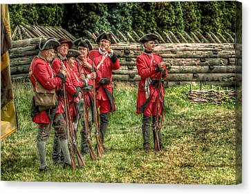 British Soldiers At Fort Ligonier Canvas Print by Randy Steele