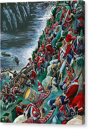 British Soldiers Make The Arduous Ascent Of The Heights Of Abraham To Take Quebec Canvas Print