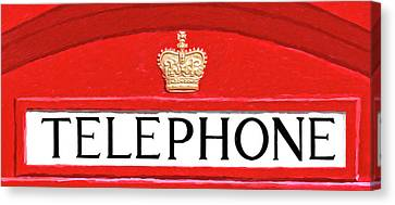 Canvas Print featuring the mixed media British Telephone Box Sign by Mark Tisdale