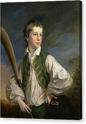 British Title Charles Collyer As A Boy  With A Cricket Bat Canvas Print by Francis